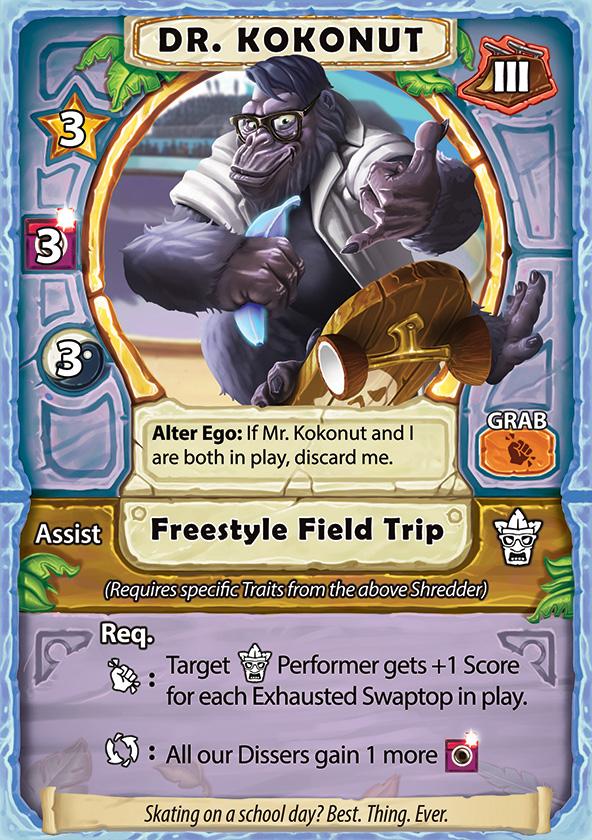 Shaka Shredders Swaptop Card - Dr. Kokonut